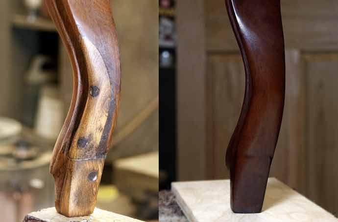 Antique sofa leg restoration